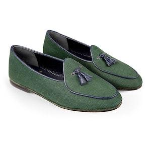 Green Marphy Jute Tassel Loafers
