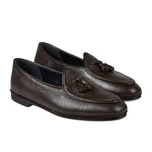 Dark Brown Marphy Deerskin Leather Tassel Loafers