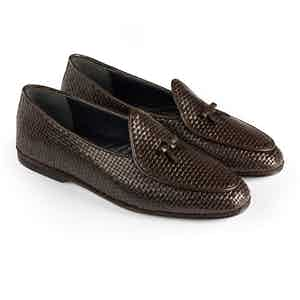 Dark Brown Marphy Woven Leather Loafers