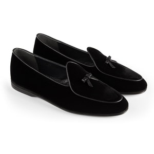 Black Marphy Velvet and Leather Loafers