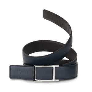 Navy and Ebony Bull-Calf Reversible Palladium Buckle Belt