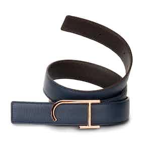 Ebony and Navy Bull-Calf Pink Golden Buckle Belt