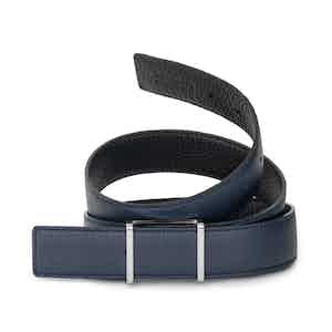 Navy and Black Bull-Calf Palladium-Buckle Belt
