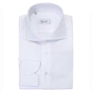 White Spread Collar Cotton Shirt