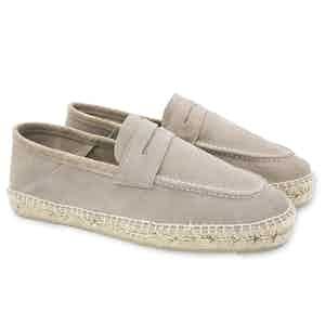 Vintage Taupe Hamptons Suede Loafers