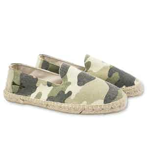 Camoflage Dakar White and Green Canvas Espadrilles