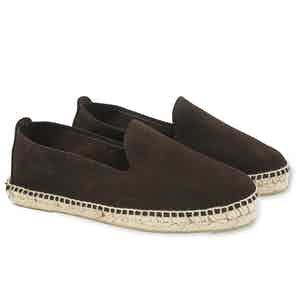 Dark Brown Hamptons Suede Espadrilles