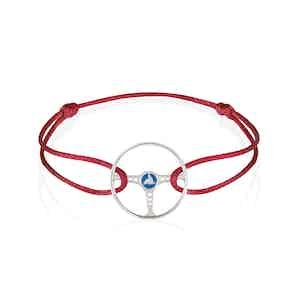 Sterling Silver on Red Silk Cord Bleu Ecosse Steering Wheel Bracelet