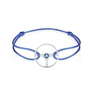 Sterling Silver on Cobalt Blue Silk Cord Bleu Ecosse Steering Wheel Bracelet