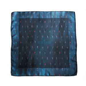 BLUE DANCER PRINT SILK POCKET SQUARE