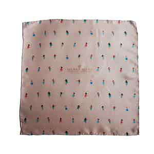 Light Pink Dancer Print Silk Pocket Square