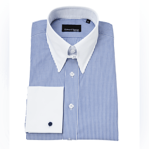Blue Bengal Stripe Tab Collar Shirt