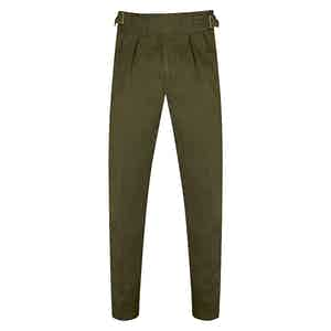 Military Green Manny Pleated Cotton Trousers