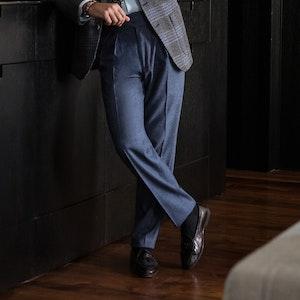 Carolina Blue Wool Manny Trousers