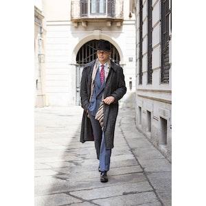 Grey Donegal Tweed Raglan-Sleeved Overcoat
