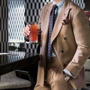 Fawn Brown Wool Double-Breasted Suit Jacket