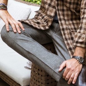Grey Flannel Drawstring Trousers