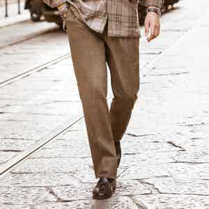 Beige Flannel Drawstring Convertible Trousers