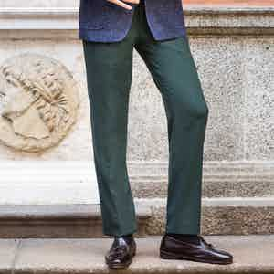 Green Wool Flat-Fronted Genny Trousers
