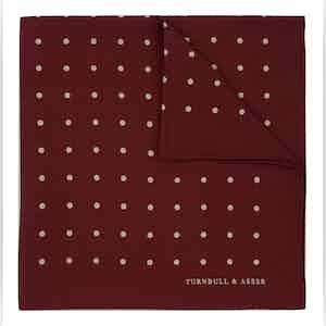 Burgundy Spot Silk Pocket Square
