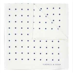White and Blue Spot Silk Pocket Square