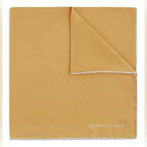 Gold and White Piped Silk Pocket Square