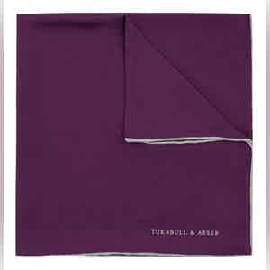 Purple And White Piped Silk Pocket Square