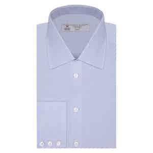 Sky Blue Micro-Check Classic Collar Cotton Shirt