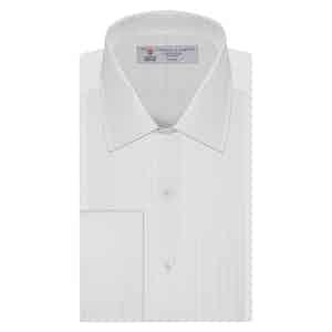 White Pleated Classic Collar Cotton Dress Shirt