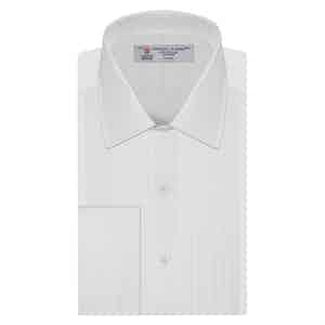White Pleated Classic Collar Cotton Dress Shirt