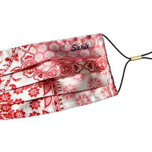 Red and White Floral Cotton Face Mask