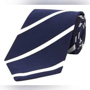 Navy And White Stripe Repp Silk Tie