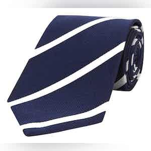Navy And White Stripe Repp Silk Tie
