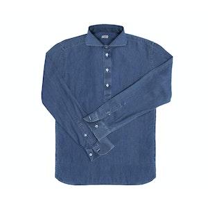 Blue Long Sleeve Stone Washed Denim Polo Shirt