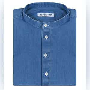 Light Blue Mandarin Collar Denim Shirt