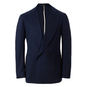 Navy Unlined Double-Breasted Cotton Jacket