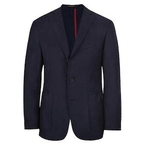 Navy Wool Unlined Single-Breasted Jacket