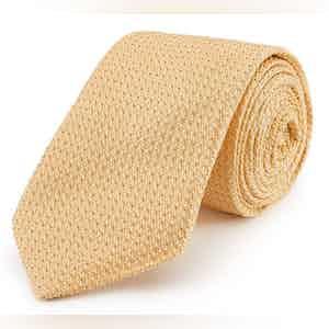 Yellow Grenadine Weave Silk Tie
