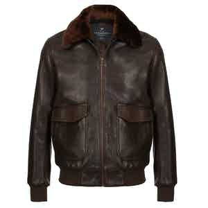Dark Brown Redford Leather Bomber Jacket