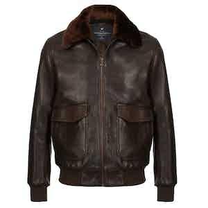 Dark Brown Redford Leather Bomber Jacket