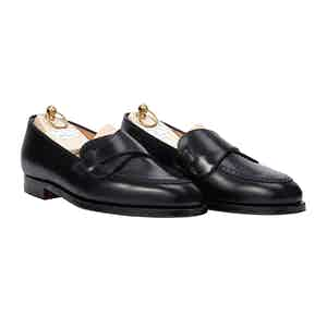 Black Butterfly Calf Leather Loafers