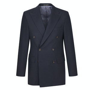 Navy Yarmouth Hopsack Wool Double-Breasted Jacket
