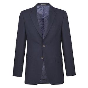 Navy Yarmouth Hopsack Wool Single-Breasted Jacket