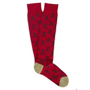 Red and Green Skull and Crossbones Cotton Mid-Calf Socks
