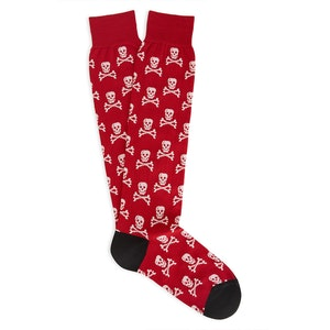 Red and White Skull and Crossbones Cotton Mid-Calf Socks