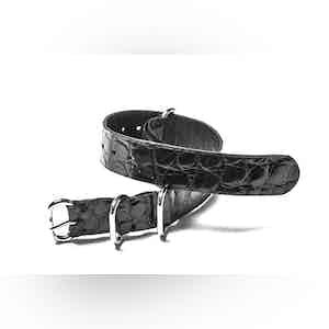 Black NATO Alligator Watch Strap