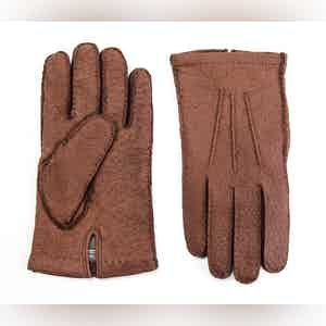 Tobacco Cashmere Lined Peccary Gloves