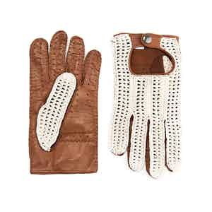 Ivory Crochet and Brown Leather Driving Gloves