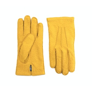 Yellow Cashmere Lined Peccary Gloves