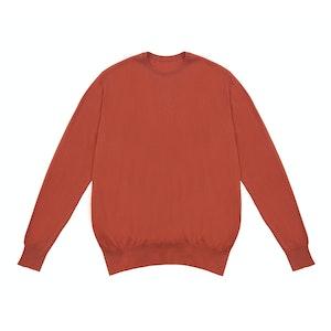 Orange Crew Neck Cashmere Sweater